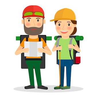 Hiking couple vector illustration