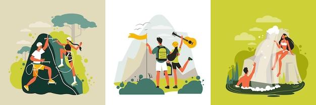 さまざまな場所のイラストで旅行者の恋人のカップルと正方形の構成のセットとハイキングのデザインコンセプト