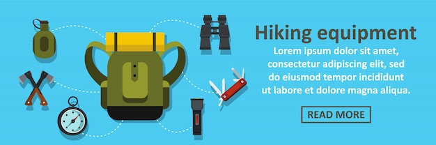 Hiking equipment banner horizontal concept