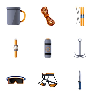 Hiking equipment set, cartoon style