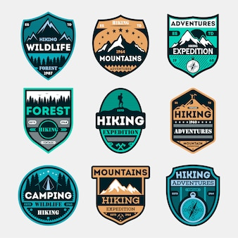 Hiking expedition vintage isolated badge set