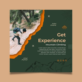 Hiking experience squared flyer template