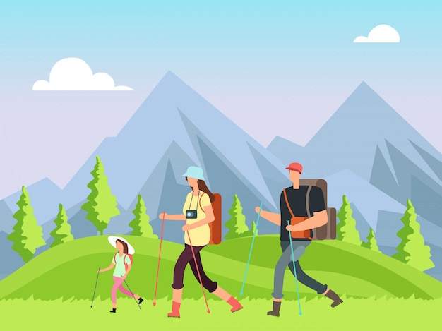 Hiking family in nature. trekking man, woman and children with outdoor mountain landscape. summer adventure