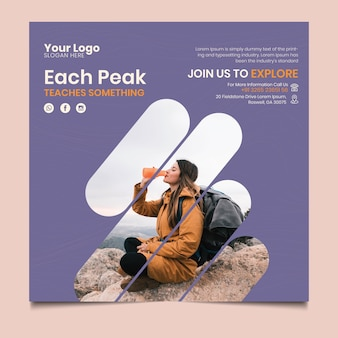 Hiking flyer square template