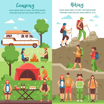 Hiking group vertical banners