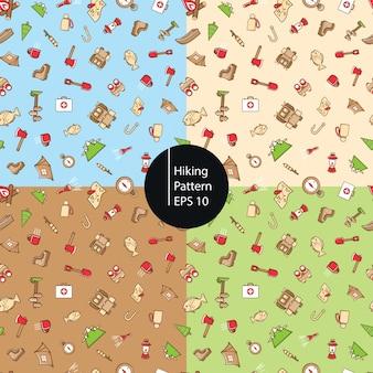 ハイキングアイコンのシームレスなパターン背景