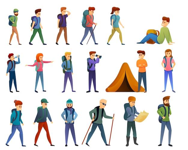 Hiking icons set, cartoon style