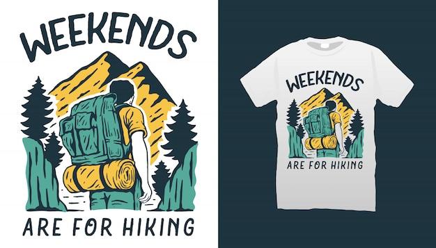 ハイキングイラストtシャツデザイン