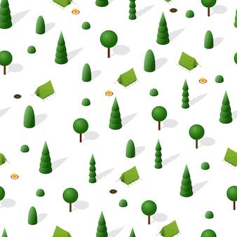 Поход в лес. изометрические бесшовные модели. ночевка в палатке. пожар в лесу. природа вокруг. зеленые деревья, ели и кустарники. выходные на природе. векторная иллюстрация