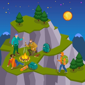 Hiking isometric composition with night wild landscape images of mountain with walking and camping tourist characters