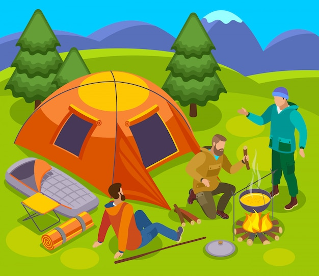 Hiking isometric composition with set tent campfire and group of male tourists in wild nature landscape