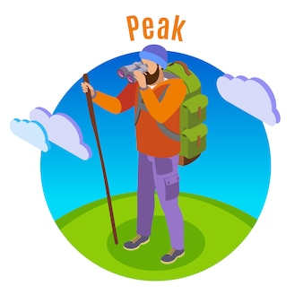 Hiking isometric illustration with human character of tourist in open plain with cloud images and text
