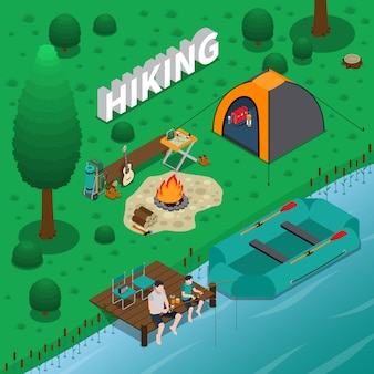 Hiking isometric illustration