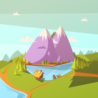 Hiking at a lake cartoon background