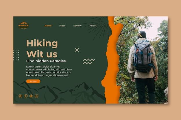Modello di pagina di destinazione per escursionismo