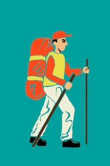旅行のテーマでハイキングの男の漫画のステッカー