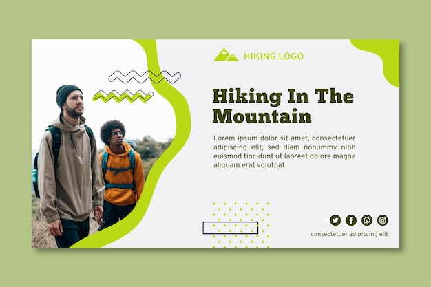 Hiking in mountain banner template