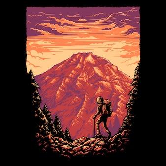 Hiking mountain illustration