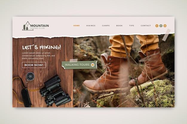 Hiking mountain landing page template