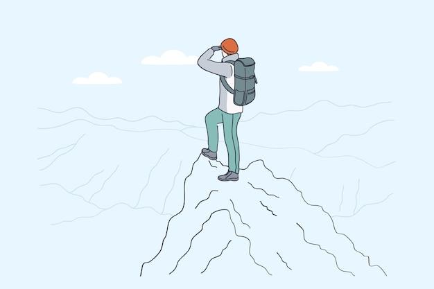 山でのハイキングバックパッカー旅行のコンセプト