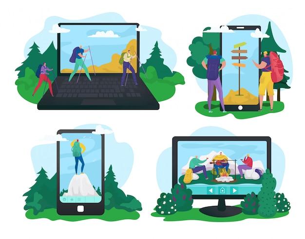 화면 앱, 일러스트레이션에서 야외 하이킹. 사람들이 문자 여행 개념, 여름 자연 휴가 관광. 전자 장치, 모바일에서 휴가 모험.