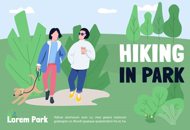 Hiking in park banner   template. brochure, poster concept design with cartoon characters.