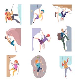 Походные люди. экстремальный образ жизни альпинистских персонажей для детей и взрослых в векторе. иллюстрация скалолазание и путешествие на свежем воздухе Premium векторы