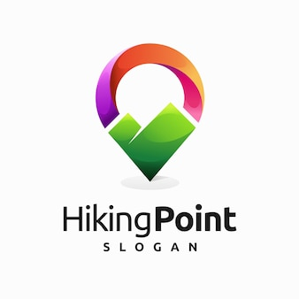 ピンの場所の概念とハイキングポイントのロゴ