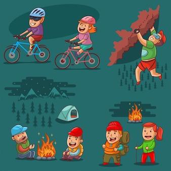 ハイキングセット。キャンプファイヤーで森の中のキャンプ、登山、アクティブなライフスタイル、サイクリング、週末の男女の漫画イラスト。