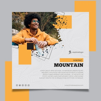 Hiking squared flyer template with photo