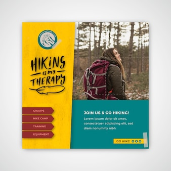 Hiking squared flyer template