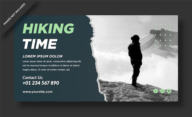 Hiking time travel banner template
