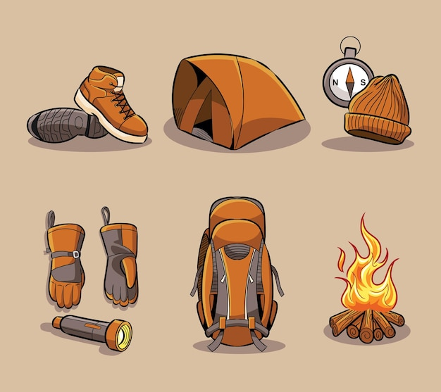 Hiking tools set collection