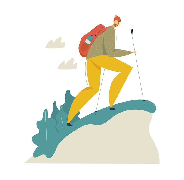 산 모험에서 하이킹 관광. 배낭 걷기와 트레킹 여행 남자. 배낭 캐릭터와 관광 개념.