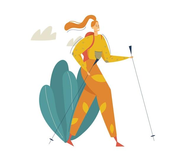 山の冒険で観光客をハイキング。バックパックウォーキングとトレッキングで旅行中の女性。バックパッカーキャラクターと観光コンセプト。