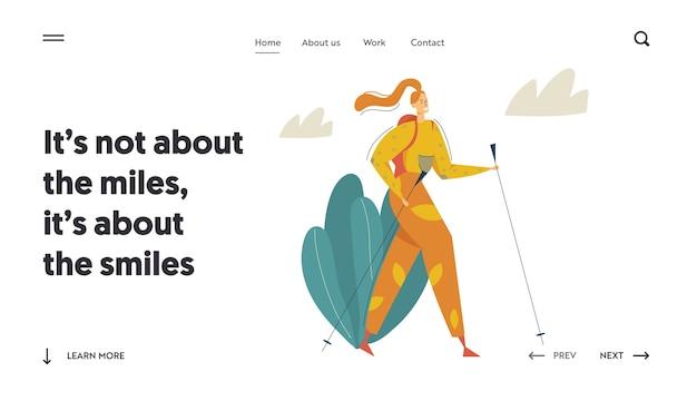 マウンテンズアドベンチャーウェブサイトのランディングページでのハイキングツーリスト。バックパックウォーキングとトレッキングで旅行中の女性。