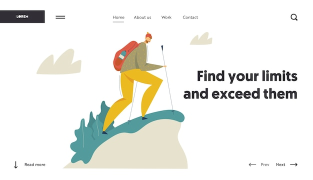 Hiking tourist in the mountains adventure landing page. traveling man with backpack walking and trekking.