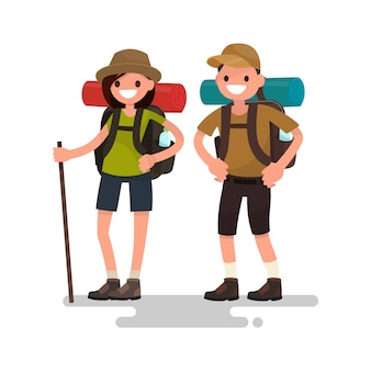 Hiking tourists. young family couple illustration