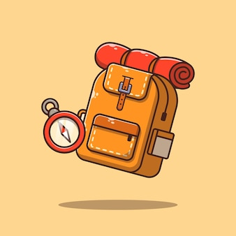 Hiking or trekking equipment backpack and compass