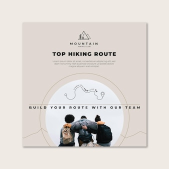 Hiking trip squared flyer template