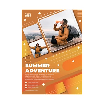 Hiking vertical flyer template