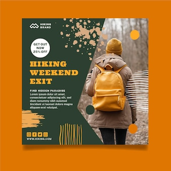 Hiking weekend squared flyer template