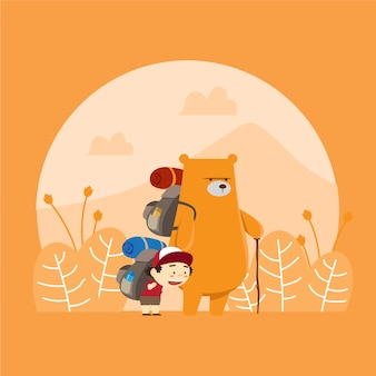 Hiking with bear illustration