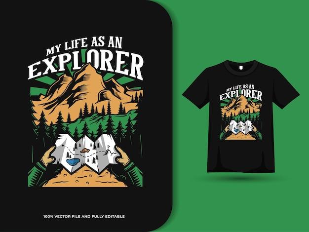 Походы с картами троп винтажные иллюстрации мотивационные цитаты и шаблон дизайна футболки Premium векторы