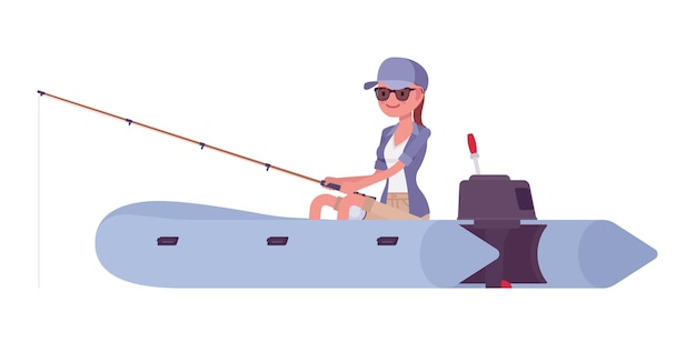 Hiking woman fishing in inflatable boat