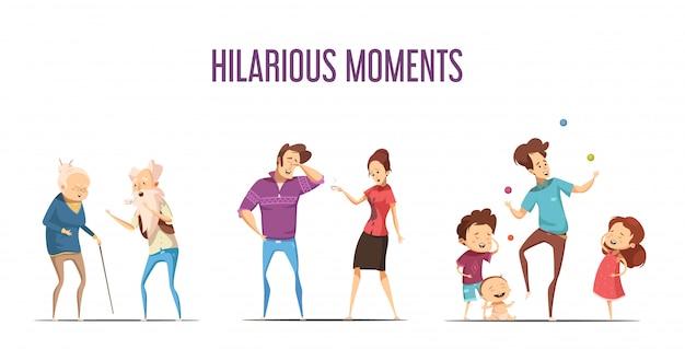 Веселые смешные моменты жизни 3 ретро мультфильм иконки с парами и молодой семьей, изолированных вектор