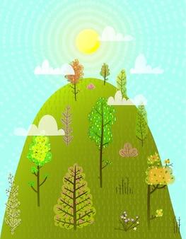 丘または山の夏の木の森