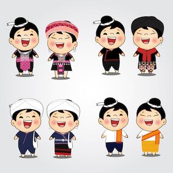 Hill tribe woman and man dress cartoon hmong