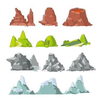 丘と山の漫画のベクトルを設定します。丘の自然、屋外の風景の要素、岩雪のイラスト