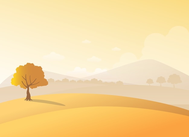 Hills and mountains view during autumn, flat style vector illustration